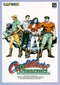 The Arcade Flyer Archive - Video Game Flyers: Cadillacs and Dinosaurs, Capcom Dinosaur Posters, Dinosaur Games, Retro Video Games, Video Game Art, Retro Games, Play Game Online, Online Games, Archive Video, Pc Engine