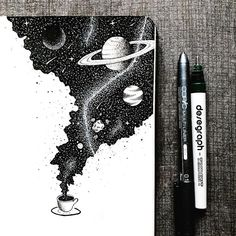 An entire universe of flavor inside a cup of coffee ☕️. An entire universe of flavor inside a cup of coffee ☕️. Ink Artwork, Stippling Art, Space Drawings, Ink Art, Sketch Book, Doodle Art, Ink Pen Drawings, Art, Ink Illustrations