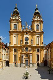 The Church in Melk Abbey. Melk Abbey is a Benedictine Abbey in Austria, and among the world's most famous monastic sites. It is located above the town of Melk on a rocky outcrop overlooking the Danube river in Lower Austria, adjoining the Wachau valley. Budapest, Beautiful Buildings, Beautiful Places, Melk Austria, The Places Youll Go, Places To Visit, Wachau Valley, Danube River Cruise, Temples