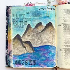 Bible journaling, Psalm 121:1-2 — Arden Ratcliff-Mann