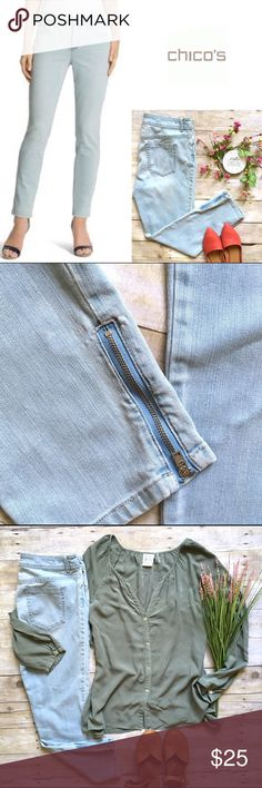 """Chico's light wash ankle zip ultimate fit denim Light wash stretch denim with ankle zipper detail. Such a great wash for summer! Classic 5 pocket styling. Zip fly, button closure. In excellent condition. 79/20/1 cotton, poly, spandex. 27"""" inseam. 10"""" rise. 16.5"""" waist laying flat. Size 1.5 in Chico's sizing which equates to a size 10. Size chart is pictured for reference. *Top shown is also available in my closet, but the look and save! Chico's Jeans Ankle & Cropped"""