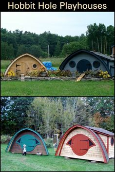 These Unique Playhouses Are Inspired by The Famous Hobbit Holes From The 'Lord of The Rings' Movie Hobbit Hole, The Hobbit, Hobbit Playhouse, Natural Homes, Playhouses, Outdoor Play, Hanging Out, Great Places, Tiny House
