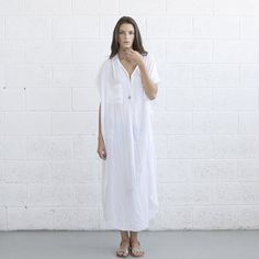 Long White Kaftan Dress.