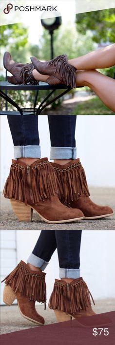 Brown Fringe Ankle Booties with Chain and Bead Uphold your reputation as a trendsetter in the modern-chic.  Textile upper with fringe detailing. Side-zip closure. Rounded toe. Synthetic lining and footbed. Stacked heel. Man-made sole. Heel Height: 3 in Circumference: 11 in Shaft: 6 in *Not Rated is the offspring of Naughty Monkey. A modern line in concept with rethought fashion, better prices and the cool looks. naughty monkey Shoes Ankle Boots & Booties