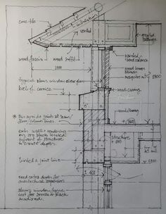 Section sketch Section sketch Architecture Details, Interior Architecture, Roof Design, House Design, Construction Drawings, Construction Documents, Architecture Sketchbook, Architectural Section, Architectural Sketches