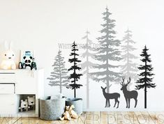 Enjoy exclusive for 3 Color Pine Tree Forest Wall Decals - Tree Wall Decals, Forest Mural, Deer Decals, Large Wall Decals, Children's Forest Decals online - Mimafashionstylish Large Wall Decals, Tree Decals, Vinyl Wall Decals, Wall Stickers, Nursery Wall Decals, Forest Mural, Pine Trees Forest, Woodland Nursery, Textured Walls