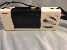 Vintage Sharp QT-F10 White Cassette Player Boombox 80s Radio Am/Fm WORKS