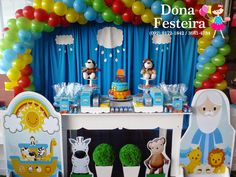 DONA FESTEIRA: DECORAÇÃO CLEAN - ARCA DE NOÉ Noahs Ark Party, Noahs Ark Theme, Bible Activities, 1st Birthdays, Birthday Cake, Baby Shower, Diy, Gabriel, Safari