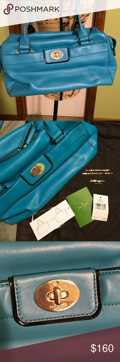 Kate Spade Colette Hampton Road Purse Kate Spade Colette Hampton Road In Egyptian Turquoise. Beautiful color! EUC. Small scratch on top of bag. Not very noticeable. Metal has some scratches from use, but if you notice that then you are looking too close 😂. Super clean inside. Extends for more room. Dust bag included. kate spade Bags Shoulder Bags