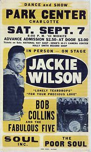 Jackie Wilson Concert Poster, LONELY TEARDROPS, one of my favorite songs.