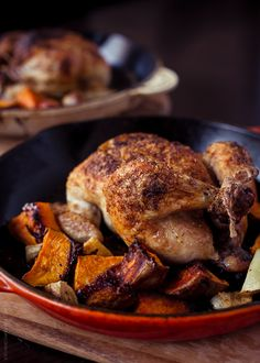 Totally made this with Cornish Cross Hen and avocado oil instead of butter-in my dutch oven. SO Whole30 Approved. SO GOOD!!!   Spice Roasted Cornish Hens with Sweet Potatoes