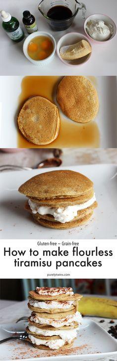 Easy and Healthy Tiramisu Pancakes Gluten Free Grains, Gluten Free Treats, Paleo Treats, Dairy Free Recipes, Real Food Recipes, Meal Recipes, Paleo Recipes, Paleo Dessert, Delicious Desserts