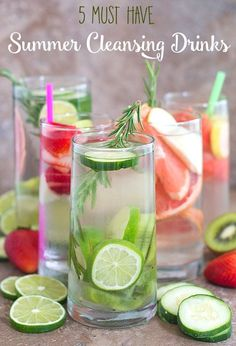 5 must have summer cleansing drinks using fresh fruits like kiwi, guava, watermelon or veggies like cucumber and lime. Summer will never be boring.