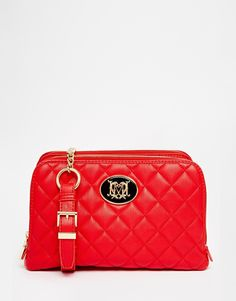 Love Moschino Leather Quilted Bag in Red