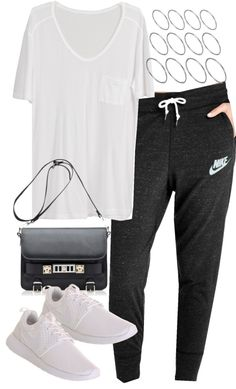Untitled #11816 by florencia95 featuring a leather purseWhite top NIKE sweat pants Nike