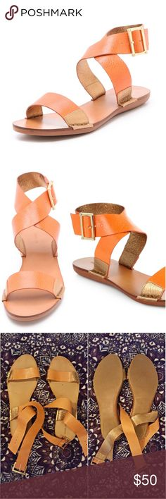 Rachel Zoe Scarlett Sandal in Orange A burnt orange color with gold detail. Very comfy feel with a great look and buckle around ankle. Loved & cared for. Feel free to comment any questions! All offers considered Rachel Zoe Shoes Sandals