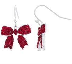 SPARKLE ALLURE Sparkle Allure Red Silver Over Brass Drop Earrings