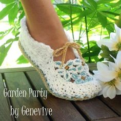 Crochet Pattern Garden Party Loafers by Genevive on Etsy