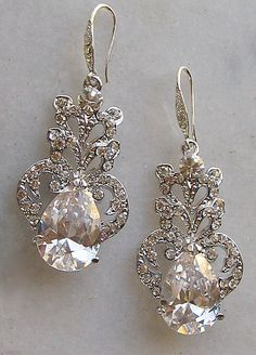 Stunning Rhinestone Chandelier Earrings, Swarovski Crystal Bridal Earrings, Rhinestone Earrings, Vintage Style - JASMINE