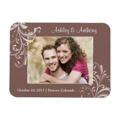 Vintage Brown White Floral Photo Wedding Magnet Flexible Magnet