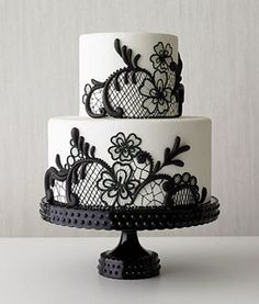 Modern black and white cake.