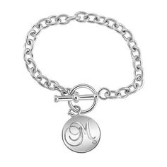 Diamond Accent Sterling Silver Initial Disc Toggle Bracelet (1 Initial)