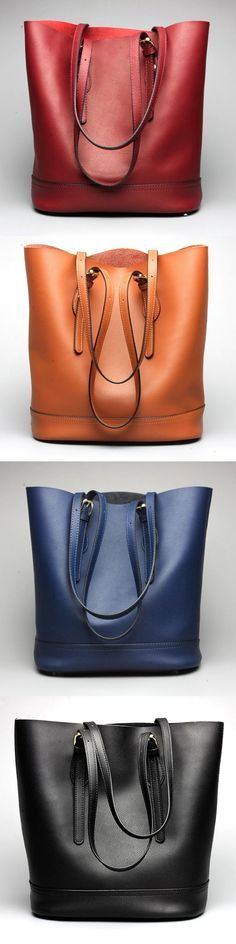 US$68.54  Ekphero #women Genuine Leather Handbag High End Tote Bag Bucket Bag - Sale! Up to 75% OFF! Shop at Stylizio for women's and men's designer handbags, luxury sunglasses, watches, jewelry, purses, wallets, clothes, underwear