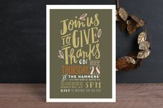 Handdrawn Give Thanks Holiday Party Invitations by Alethea and Ruth at minted.com