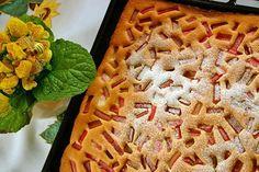 Rebarborová bublanina - Mňamky-Recepty.sk Rhubarb Cake, Waffles, Breakfast, Sweet, Food, Basket, Food Food, Backen, Morning Coffee