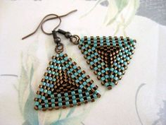 peyote earings  | peyote triangle earrings in brown and turquoise by madebykatarina