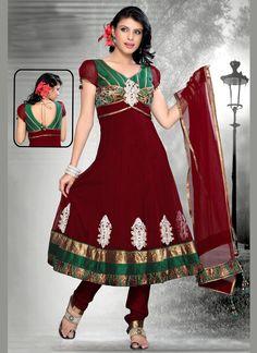 $193 Spectacular Red Long Anarkali churidar Suit