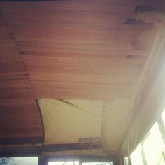 Our #skoolie ceiling! This is in the front above the stairs & driver's seat.   #skoolie #skoolieconversion #busconversion #tinyhome