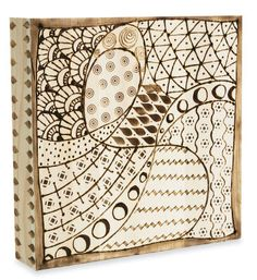 woodburning - zentangle tile (try with own patterns and change the round circles to waxing and waning moon <3