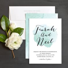 Watercolor Splash Wedding Invitations by Stacey Meacham | Elli