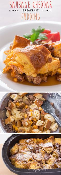 Sausage, cheddar and french toast bread pudding drenched in maple syrup, a one-pan breakfast that's sure to please.