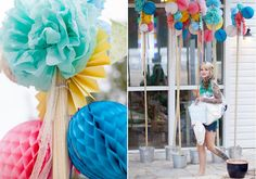 tissue pom wedding decor ideas   100 Layer Cake