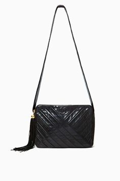 Vintage Chanel Black Leather Shoulder Bag in Lookbooks The Ultimate Score at Nasty Gal