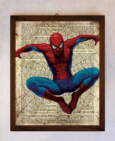 Spiderman Wall Art spiderman art printable, spiderman wall art, book page print