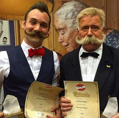 At yesterday's World Beard and Moustache Championships in Leogang, Austria, Mr Jackie Lynn Ellison from the Austin Facial Hair Club took 1st place in the Imperial Moustache category, and Mr Wolfgang Schneider was placed 1st in Natural Moustache. Congratulations chaps!  Photography by Mr Taylor Welden.