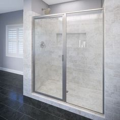 "Basco Deluxe 58"" x 68.63"" Pivot Shower Door Trim Finish: Brushed Nickel, Glass Type: AquaGlideXP clear"