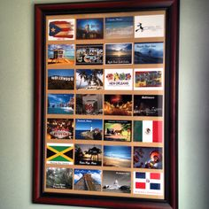Postcard Collage - Framed Postcards of our travels. Travel theme decor