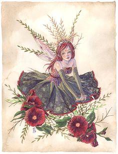 Hollyhock Princess Fairy Original Watercolor by sarambutcher aka: Sara M. Fantasy Kunst, Fantasy Art, Fairy Original, Kobold, Elves And Fairies, Fairy Pictures, Vintage Fairies, Beautiful Fairies, Flower Fairies