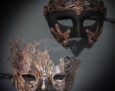 Couples Masquerade Masks, His & Hers Masquerade Masks - Bestselling Rose Gold Roman Mask and Laser Cut Masquerade Mask with Diamonds