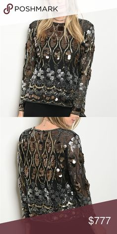 "COVERED IN SEQUINS TOP 'TREND ALERT"" BRAND NEW BOUTIQUE ITEM PRICE IS FIRM  ON TREND FOR SPRING 2018 SEQUINS ARE ALL OVER THE RUNWAYS! PAIR THIS FABULOUS LONG SLEEVED MESH SEQUINNED AND BEADED DETAILED TOP WITH A PAIR OF RIPPED JEANS & BLACK STILETTOS FOR A PERFECT AND TRENDY LOOK! Covered in multi colored and multi sized sequins    100% POLYESTER One size  L: 23"" B: 38"" W: 36"" PER MAKER,  measurements vary slightly  SPRING SUMMER BLOUSE FORMAL EVENT OCCASSION DATE VEGAS CRUISE . Tops"