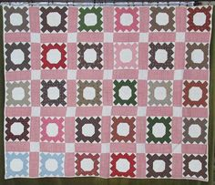 """Antique Album Signature QUILT Montrose MI 1864-66  signatures in pen and ink. ebay seller vintageblessings; 66"""" x 80""""; hand quilted at 6-7 spi in grid of double rods abt 1/4"""" wide, squares abt 1""""; hand bound, 2.14 lbs; names include: families of Elizabeth, Ann & John Stufflebeam, Abraham & Osa Way, Shanks, Smith, Sommers, Jane Holmes, Susan Wilcox & more"""