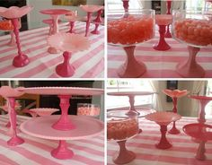 plastic dollar store trays and candle holders spray painted and glued together