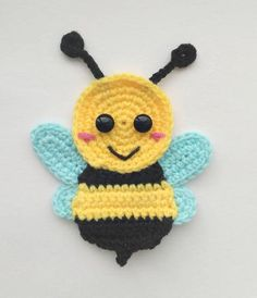 PATTERN Bugs Applique Crochet Patterns PDF Caterpillar Bee Grasshopper Ledybug Crochet Appliques Spring Suumer Motif Baby Blanket Gift ENG – Awesome Knitting Ideas and Newest Knitting Models Motifs D'appliques, Crochet Motifs, Crochet Flower Patterns, Applique Patterns, Crochet Bee Applique, Crochet Appliques, Crochet Flowers, Baby Applique, Crochet Amigurumi
