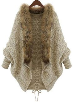 Find Lentta Women's Casual Batwing Sleeve Sweater Cable Knit Cardigan With Fur Collar online. Shop the latest collection of Lentta Women's Casual Batwing Sleeve Sweater Cable Knit Cardigan With Fur Collar from the popular stores - all in one Handgestrickte Pullover, Batwing Cardigan, Cable Knit Cardigan, Batwing Sleeve, Sweater Cardigan, Open Cardigan, Loose Sweater, Beige Cardigan, Cardigan Pattern