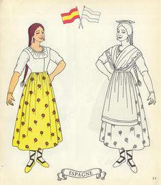 Arielle Gabriel: Antique Paper Dolls Part B Paper Doll Board 26 on . Paper Doll Costume, Folk Costume, Spanish Costume, Paper Doll House, Costumes Around The World, Vintage Paper Dolls, Doll Parts, Retro Toys, Great Memories