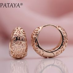 PATAYA New Arrivals Unique Exquisite Carved Hollow 585 Rose Gold Dangle Big Earrings Women Wedding Party Fine Trendy Jewelry Gold Earrings Designs, Gold Jewellery Design, Gold Jewelry, Jewelery, Fine Jewelry, Jewelry Shop, Simple Earrings, Women's Earrings, Statement Earrings